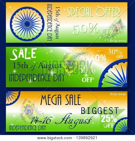 Mega Sale with special discount offer, Website header or banner set decorated with shiny Ashoka wheel and national flag color stripes for Indian Independence Day celebration.