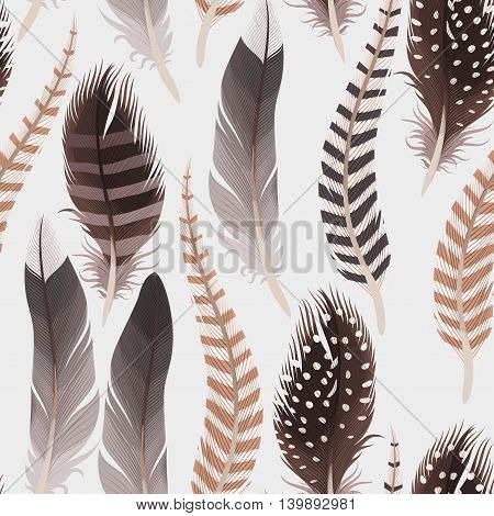 Decorative natural colored feathers vector seamless background
