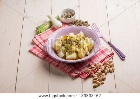 potatoes salad with capers leek and pistachio nut