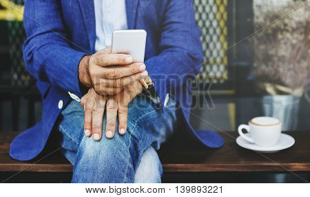 Senior Man Mobile Phone Communication Connection Technology Concept
