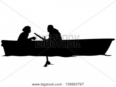 Athletes with kayak on white background
