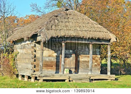 Ancient traditional ukrainian wicker rural barn, Kiev