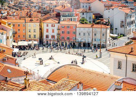 Piran, Slovenia - May 7, 2016: Top view on Tartini square in Piran town. Piran is one of Slovenia's major tourist attractions.