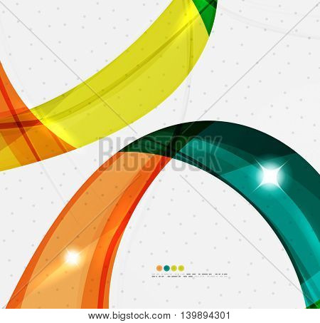 Smooth wave line abstract background - color curve stripes and lines in motion concept and with light and shadow effects. Presentation banner and business card message design template