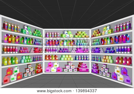 Concept illustration for Shop. Vector supermarket shelves. Healthy eating and eco food