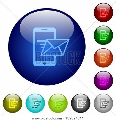 Set of color sending email glass web buttons.