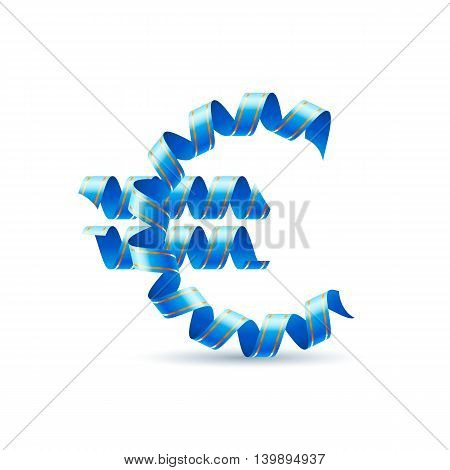 Euro sign made of blue curled shiny ribbon