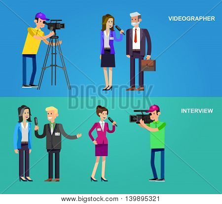 Mass media design concept set with journalists preparing news materials operators working with camera and interviewer, vector illustration