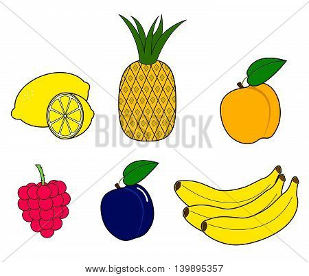 Set of stylized fruit. Isolated on white background. Vector illustration
