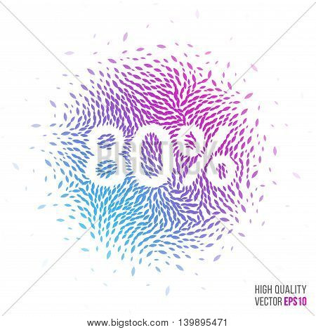 Sale 80 beautiful design element for greeting card template layout with moving particles and swirl explosion effect for shopping, advertisement banner, special offer and store. Blue, purple vector.