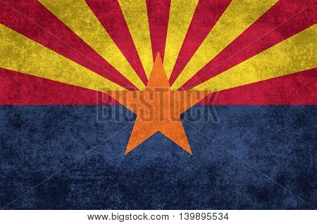 State flag of Arizona with distressed vintage textures
