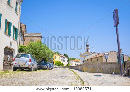 Monselice, Italy, June, 23, 2016: cityscape with the street in an old part of town in Monselice, Italy