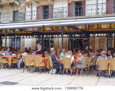 VERONA, ITALY - JULY, 2, 2016: Street cafe in Verona, Italy