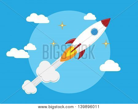 Flat design business start up launch concept