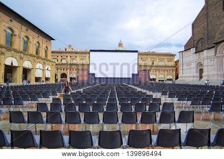 Bologna, Italy - June, 18, 2016: open air cinema in a center of Bologna, Italy