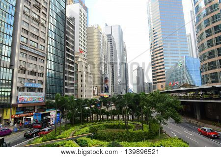 HONG KONG - NOV 9: Hong Kong Connaught Road Central at the center of Financial District on Nov 9, 2015 in Hong Kong. Connaught Road is a major road on the north shore of Hong Kong Island.
