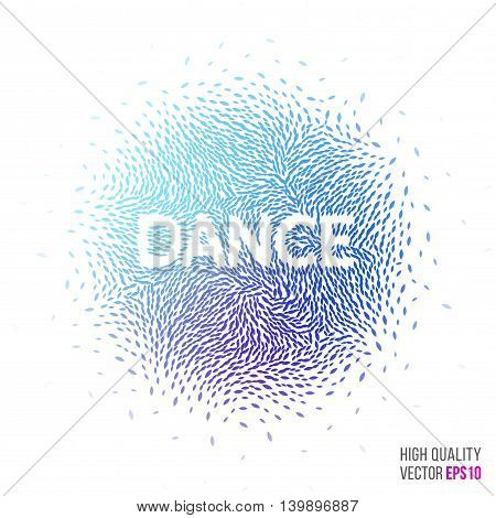 Dance beautiful design element for greeting card template layout with moving particles and swirl explosion effect for party, holiday banner, festival and club. Blue, purple vector.