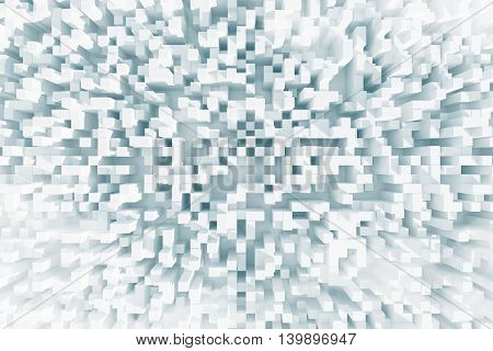 Abstract light cube background. 3D Rendering. Close up.