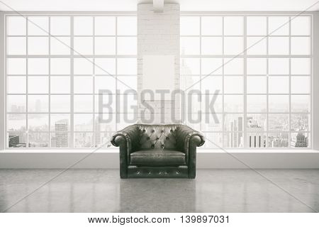 Black leather armchair in interior with blank poster on white brick column concrete floor and panoramic window with city view and daylight. Mock up 3D Rendering