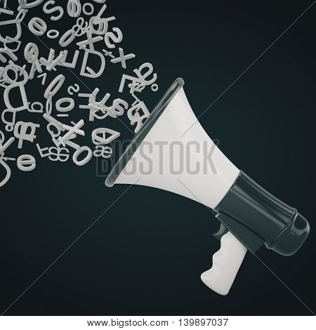 Loudspeaker with abstract letters on dark background. Communication concept. 3D Rendering