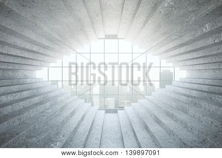 Abstract interior with concrete stair walls and window with city view. 3D Rendering