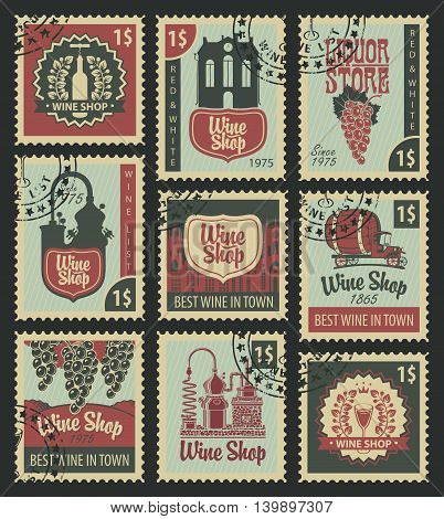 set of stamps on theme of wine and liquor