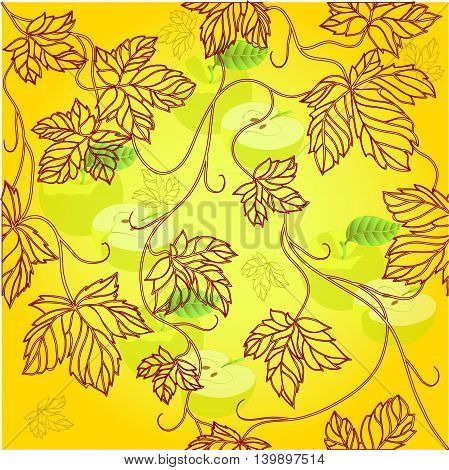 Seamless Wallpaper with floral ornament with leafs and applefor vintage design, Vector retro background