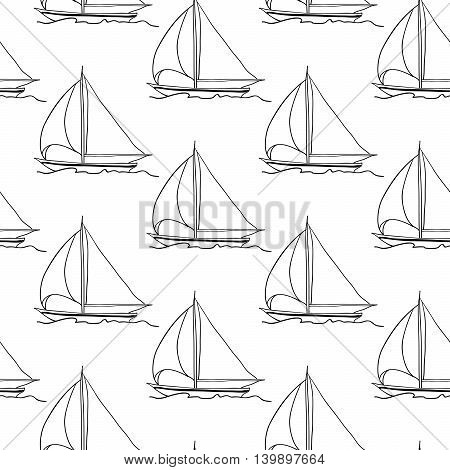 seamless wallpaper with a sailboat on the ocean waves