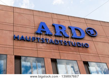 GERMANY - 22 JULY 2016: the logo of the German state owned television station ARD, Berlin.