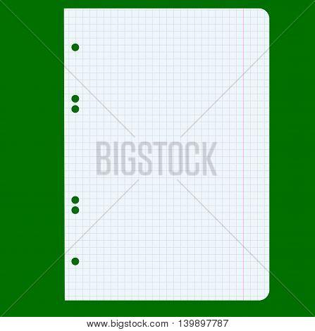 White squared blank white paper sheet. Vector illustration.