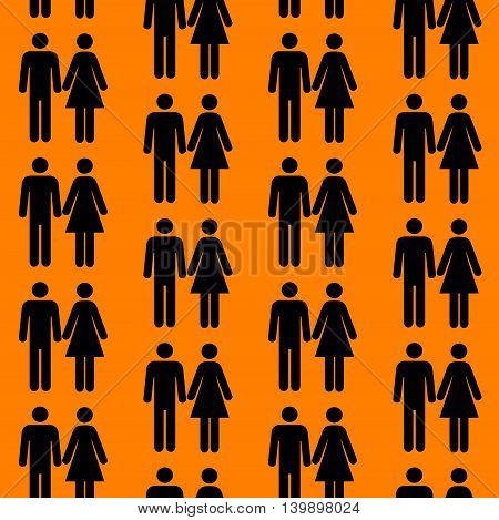 Seamless pattern with silhouettes of the person of different color can be repeated and scaled in any size