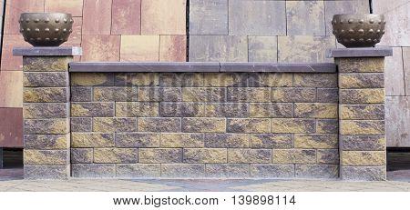 Fence Of Concrete Bricks, Texture, Advertising,