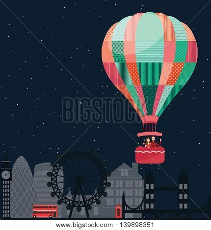 people kids flying in sky with hot balloon friends vector illustration travel vector