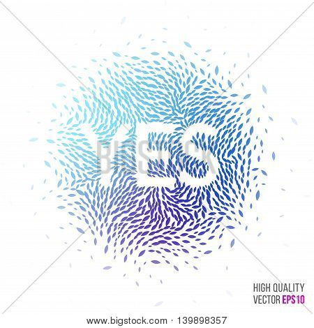 Yes beautiful design element for greeting card template layout with moving particles and swirl explosion effect for party, events, advertisement banner, special offer. Blue, purple vector.