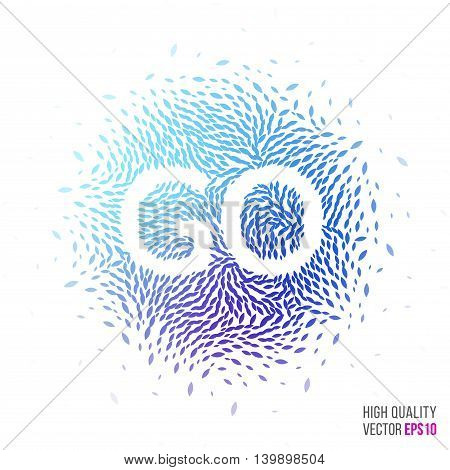 Go beautiful design element for greeting card template layout with moving particles and swirl explosion effect for sport, running event, marathon and fitness. Blue, purple vector.