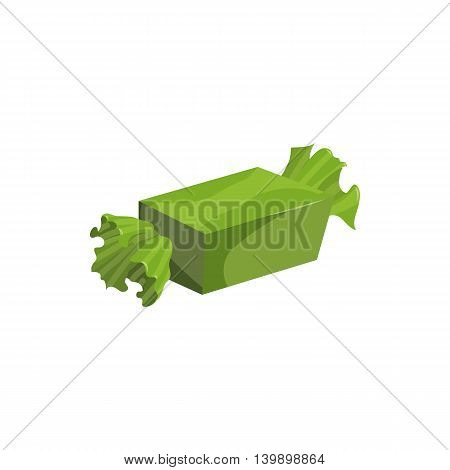 Green Candy icon in cartoon style isolated on white background