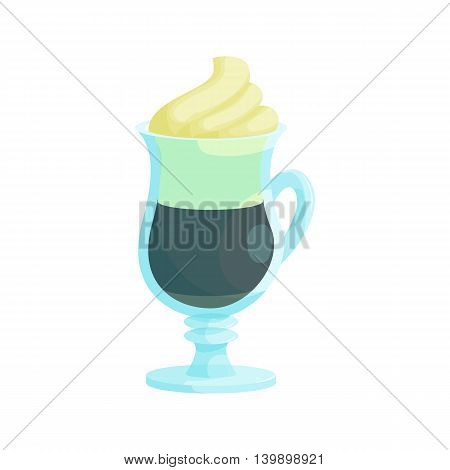 Irish coffee icon in cartoon style isolated on white background