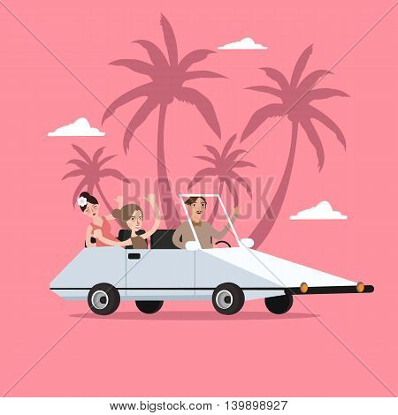 group of people ride car open for travel holiday with palm tree behind vector