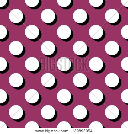 Tile vector pattern with big white polka dots on purple background