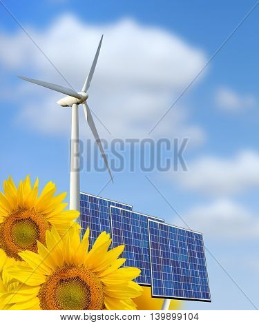 Renewable energy: windmill solar panel and sunflower
