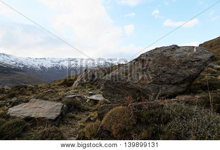Big Stone. The mountains of the Sierra Nevada. The height of 2500 meters. Spain.