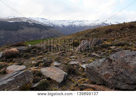 Sierra Nevada. The slope of the mountain peaks, rocks and moss. The height of 2500 meters. Nature Spain.