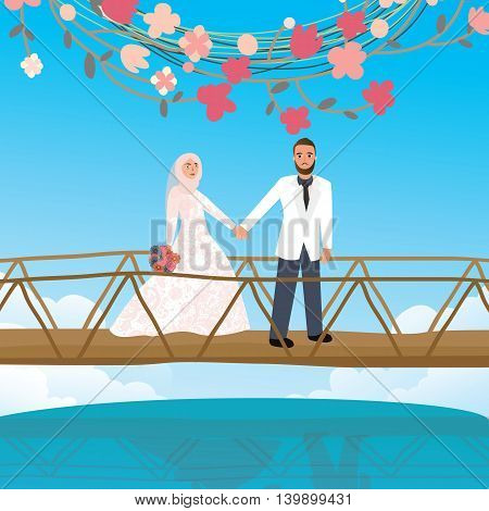 couple holding hand in bridge woman wearing scarf veil Islamic symbol vector