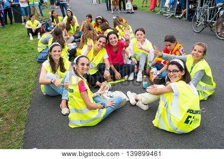Poznan POLAND - JULY 24 2016: pilgrims dancing and singing during Days In Dioceses just before The World Youth Day in Krakow; WYD is an international meeting of youth from all over the world