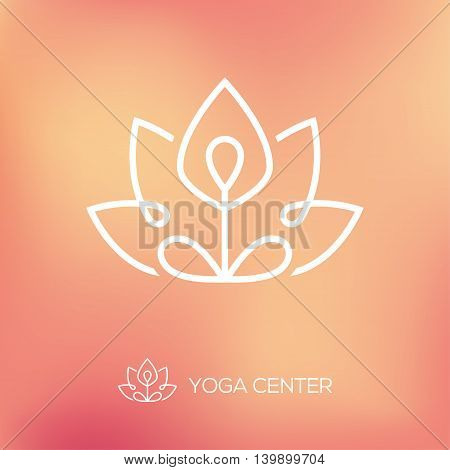 Outline yoga logo with abstract symbol of man in lotus pose on bright blurred background