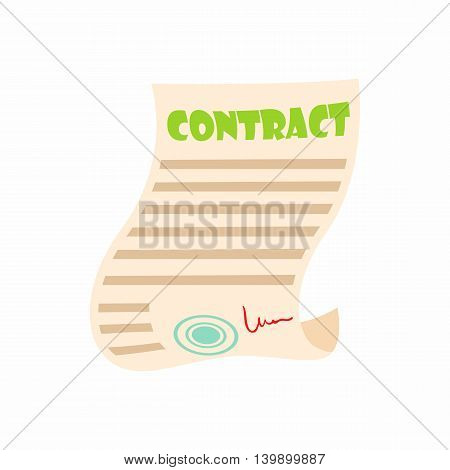 Document contract icon in cartoon style isolated on white background. Agreement symbol