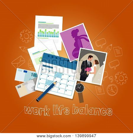 work life balance concept of balancing people time and priorities between money and family vector