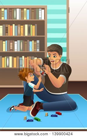 A vector illustration of happy son playing together with his father in bedroom