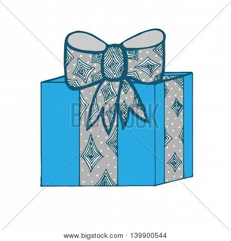 Blue gift box with gray ribbon and bow isolated on the white background. Art element for adult coloring book page design.