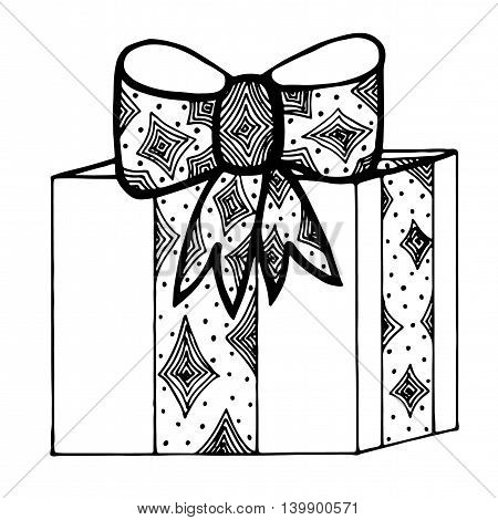 Gift box with ribbon and bow isolated on the white background. Mono color black line art element for adult coloring book page design.